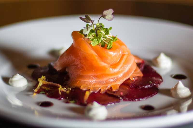 Beetroot Carpaccio with Salmon